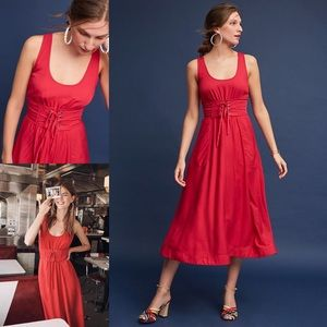 NWT Anthropologie Red Corseted Midi Dress